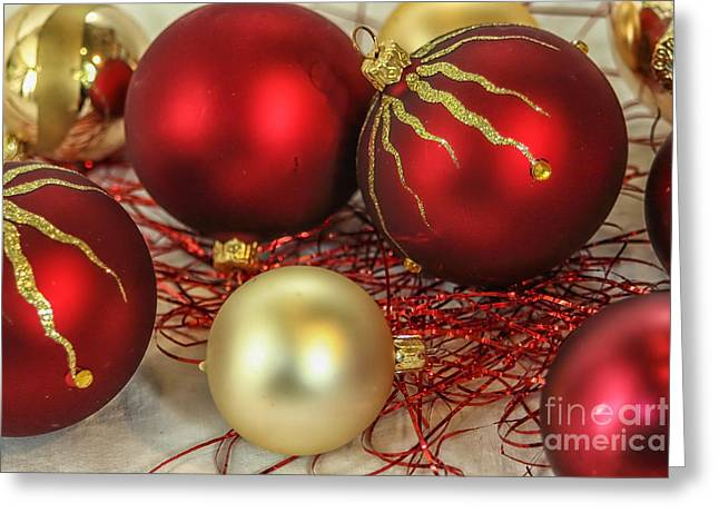 Chirstmas Ornaments Greeting Card by Patricia Hofmeester