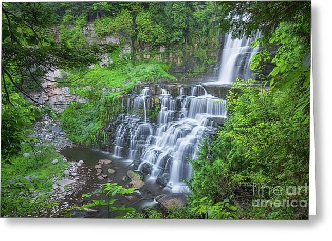 Chittenango Falls Hiking Trail  Greeting Card by Michael Ver Sprill