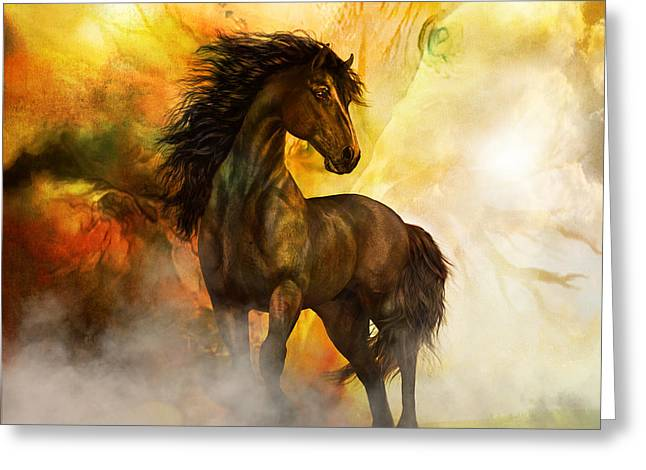Soft Tones Greeting Cards - Chitto Black Spirit Horse Greeting Card by Shanina Conway