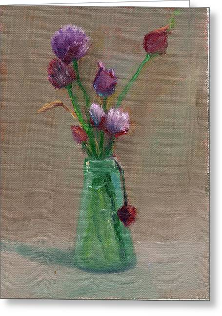 Impressionist Greeting Cards - Chive Flowers Greeting Card by Elizabeth B Tucker