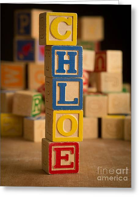 Announcement Greeting Cards - CHLOE - Alphabet Blocks Greeting Card by Edward Fielding
