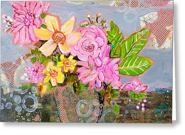 Bouquet Mixed Media Greeting Cards - Chloe Rose Flowers Greeting Card by Blenda Studio
