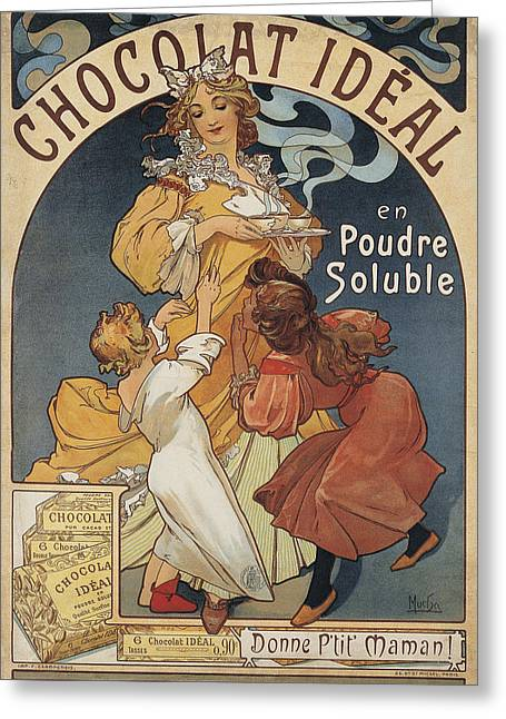 Alphonse Maria Mucha Greeting Cards - Chocolat Ideal Greeting Card by Celestial Images