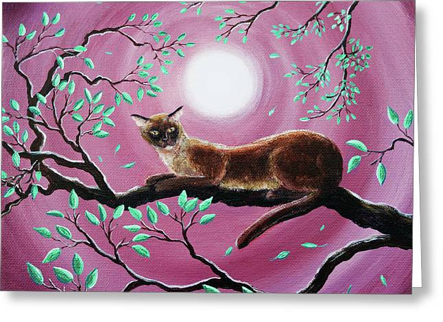 Chocolate Burmese Cat In Dancing Leaves Greeting Card by Laura Iverson