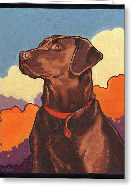 Chocolate Lab Greeting Cards - Chocolate But NOT Hershey Greeting Card by Shawn Shea