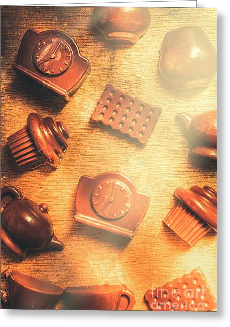 Chocolate Cafe Background Greeting Card by Jorgo Photography - Wall Art Gallery