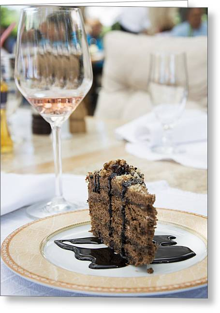 Wine-glass Greeting Cards - Chocolate cake and glass of wine Greeting Card by Newnow Photography By Vera Cepic