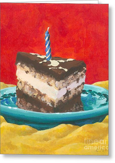 Layer Greeting Cards - Chocolate Birthday Cake Greeting Card by Cheryl Emerson Adams