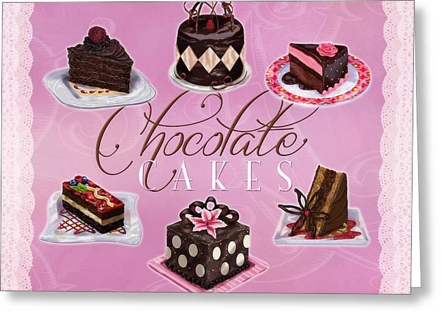 Strawberry Cupcake Greeting Cards - Chocolate Cakes Greeting Card by Shari Warren