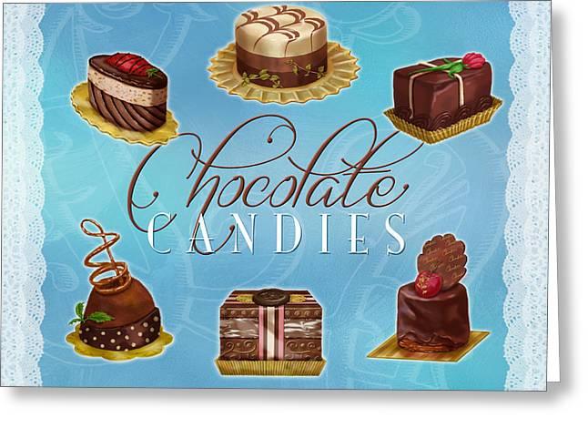 Strawberry Cupcake Greeting Cards - Chocolate Candies Greeting Card by Shari Warren