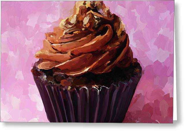 Reception Paintings Greeting Cards - Chocolate Cupcake Greeting Card by Jai Johnson