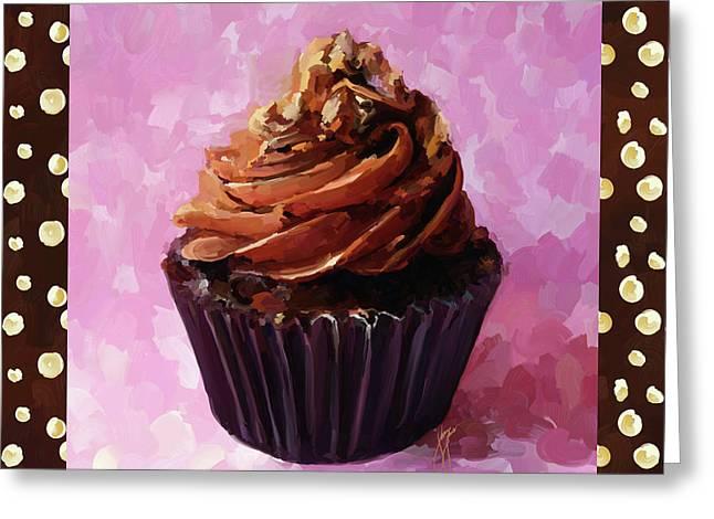 Reception Paintings Greeting Cards - Chocolate Cupcake With Border Greeting Card by Jai Johnson