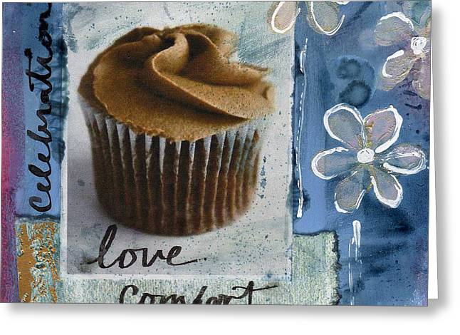 Chocolate Cake Greeting Cards - Chocolate Cupcake Love Greeting Card by Linda Woods
