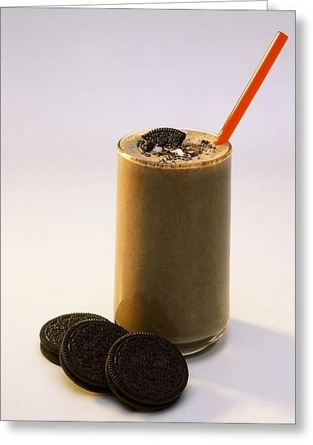 Chocolate Milkshake Greeting Cards - Chocolate Milk With Cookies Greeting Card by Ron Nickel