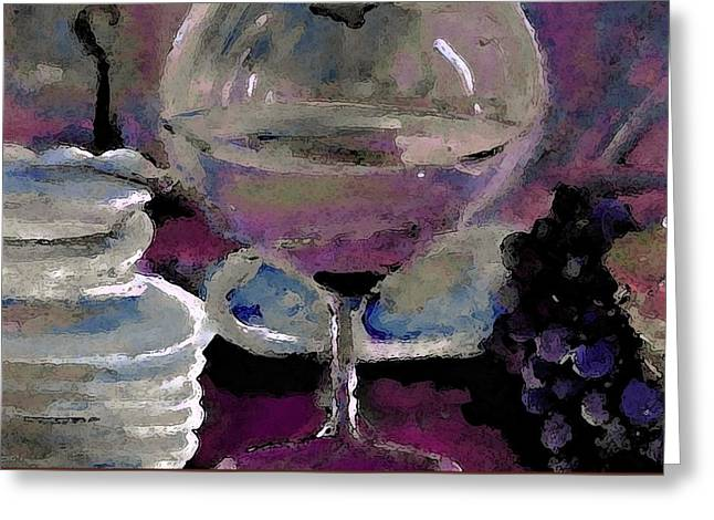 Chocolate Pie And Wine Greeting Card by Lisa Kaiser