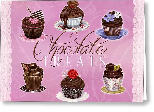 Strawberry Cupcake Greeting Cards - Chocolate Treats Greeting Card by Shari Warren