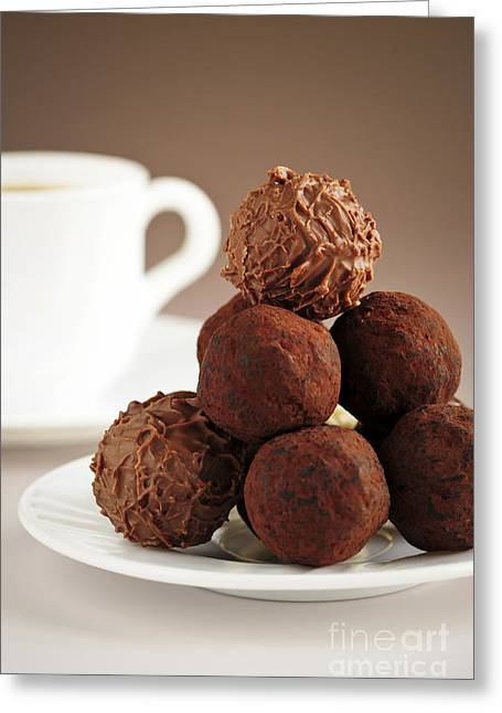 Sweetness Greeting Cards - Chocolate truffles and coffee Greeting Card by Elena Elisseeva
