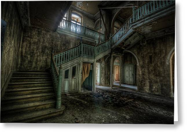 Ghostly Greeting Cards - Chocolate villa hallway Greeting Card by Nathan Wright