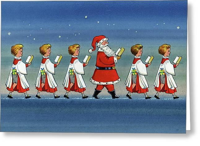 Choirboys And Santa Greeting Card by Stanley Cooke