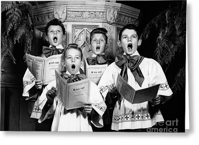 Harmonize Greeting Cards - Choirboys Singing, C.1940s Greeting Card by H. Armstrong Roberts/ClassicStock