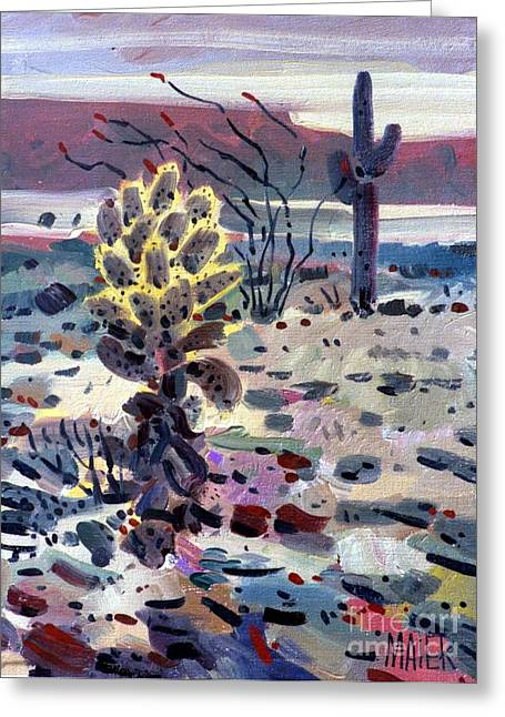 Sonoran Desert Greeting Cards - Cholla Saguargo and Ocotillo Greeting Card by Donald Maier