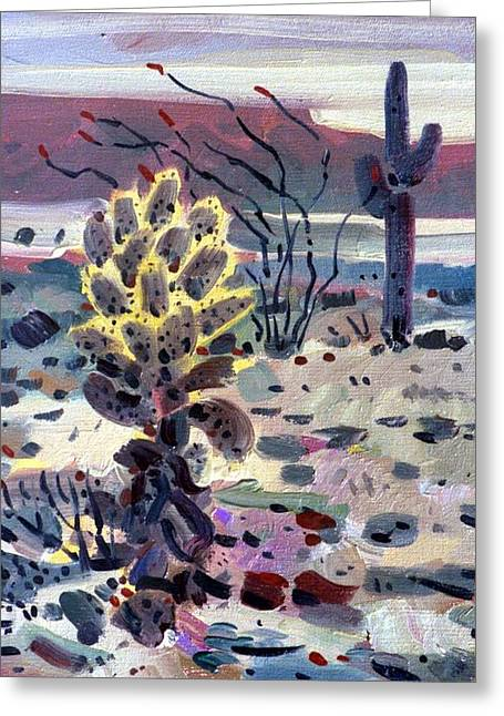 Cholla Saguargo And Ocotillo Greeting Card by Donald Maier