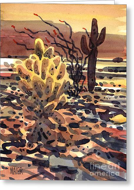 Sonoran Desert Greeting Cards - Cholla Saguaro and Ocotillo Greeting Card by Donald Maier
