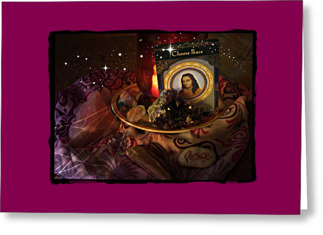Candle Lit Greeting Cards - Choose Peace Greeting Card by Bobbee Rickard
