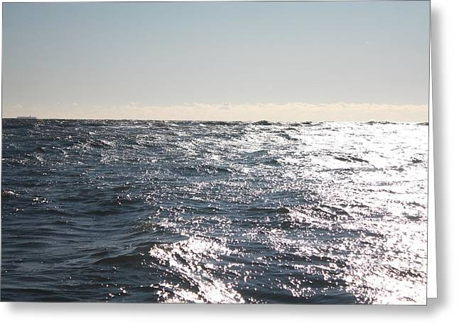 Reflection Of Sun In Clouds Greeting Cards - Choppy Ocean Fishing Waters Greeting Card by John Telfer