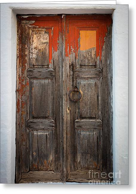 Aegean Greeting Cards - Chora Door Greeting Card by Inge Johnsson