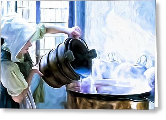 Servant Mixed Media Greeting Cards - Chores of a chambermaid Greeting Card by Tony Meaney