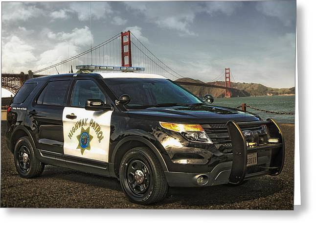 Police Patrol Law Enforcement Greeting Cards - CHP Police Interceptor Utility Vehicle Greeting Card by Chp