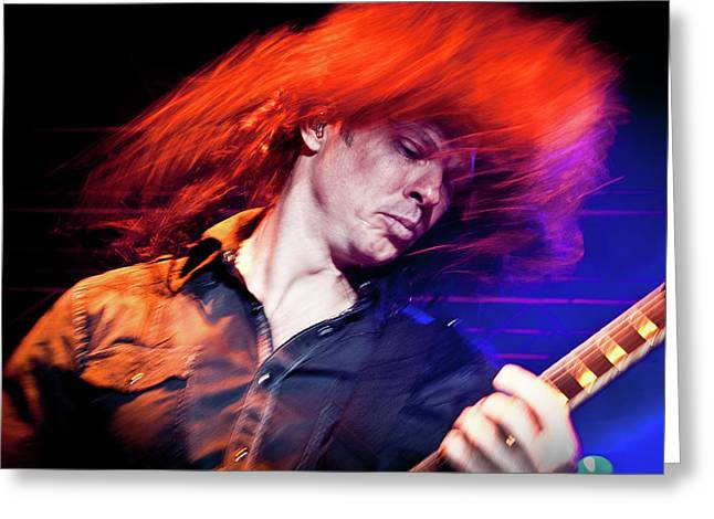 Megadeth Greeting Cards - Chris Broderick Flying  Greeting Card by Luigi Orru