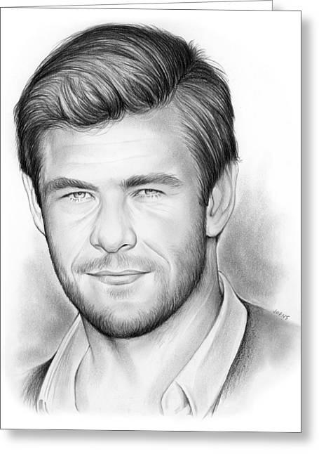 Thor Drawings Greeting Cards - Chris Hemsworth Greeting Card by Greg Joens