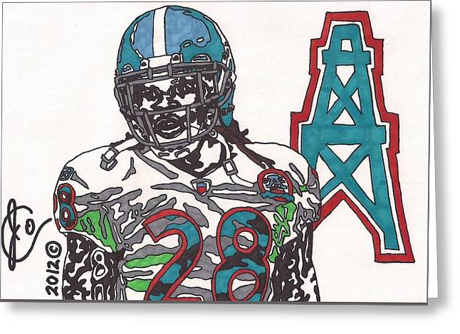 Player Greeting Cards - Chris Johnson  Greeting Card by Jeremiah Colley