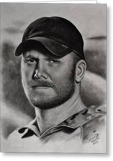 Photo-realism Pastels Greeting Cards - Chris Kyle Greeting Card by Samantha Howell