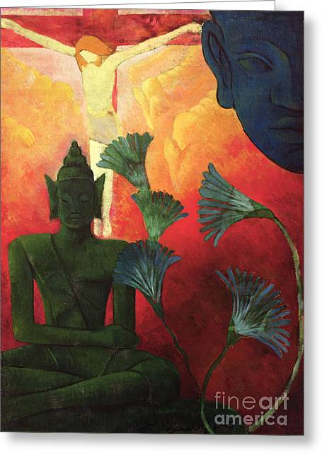 Lotus Flowers Greeting Cards - Christ and Buddha Greeting Card by Paul Ranson