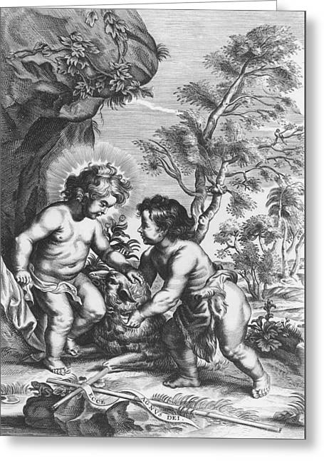 Christ And John The Baptist  Behold The Lamb Of God Greeting Card by Gaspar Huberti