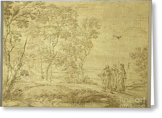Road To Emmaus Greeting Cards - Christ and the disciples on the road to Emmaus Greeting Card by Celestial Images