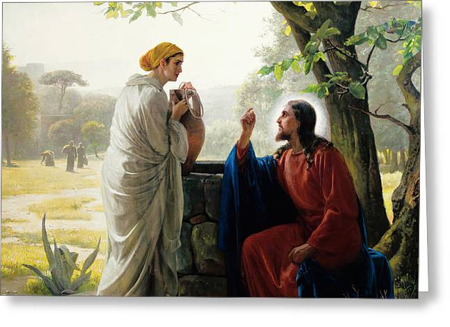 Christ And The Samaritan Woman Greeting Card by Celestial Images