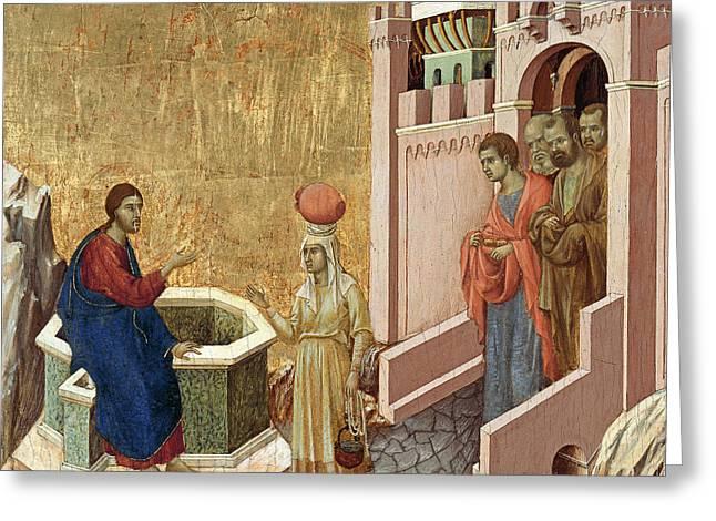 Christ And The Samaritan Woman Greeting Card by Duccio