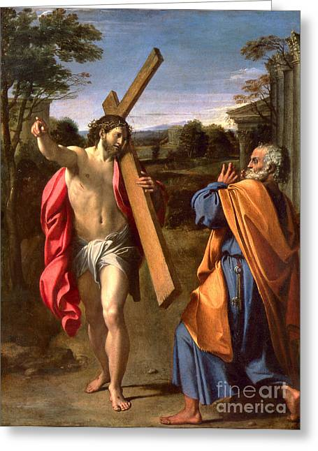 Appearances Greeting Cards - Christ Appearing to St. Peter on the Appian Way Greeting Card by Annibale Carracci