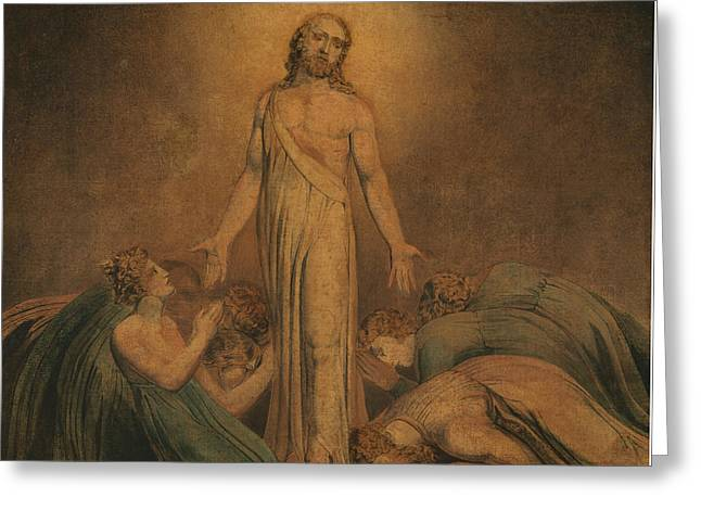 Christ Appearing To The Apostles After The Resurrection Greeting Card by William Blake
