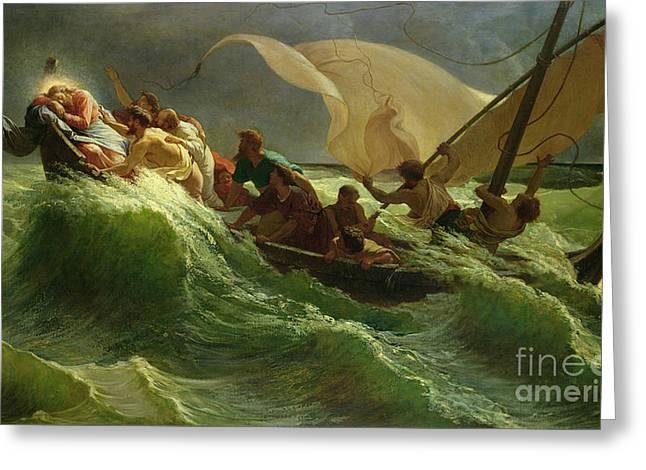 Christ Asleep in his Boat  Greeting Card by Jules Joseph Meynier