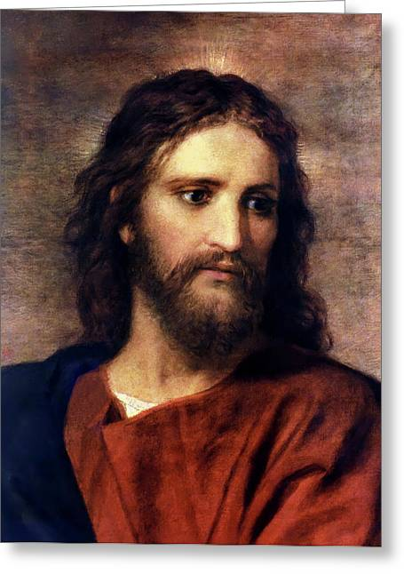 Printed Greeting Cards - Christ at 33 Greeting Card by Heinrich Hofmann
