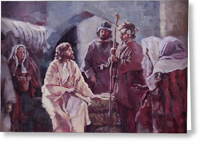 Best Sellers -  - The Followers Greeting Cards - Christ at the Well Greeting Card by Layne Brady