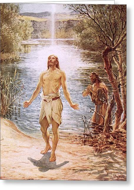 Descend Greeting Cards - Christ baptised by John the Baptist Greeting Card by William Brassey Hole
