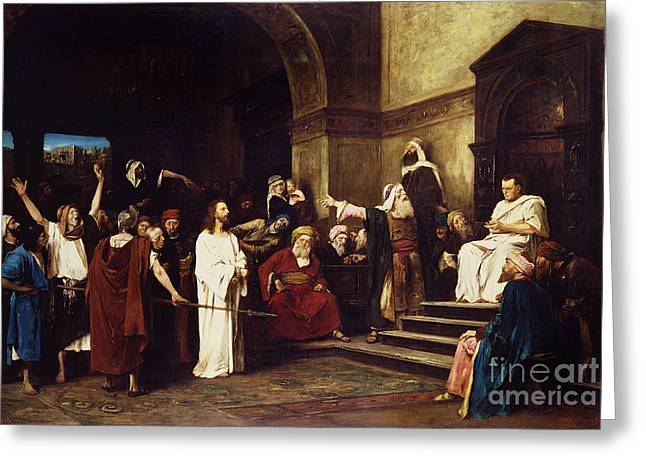 Religious Paintings Greeting Cards - Christ Before Pilate Greeting Card by Mihaly Munkacsy