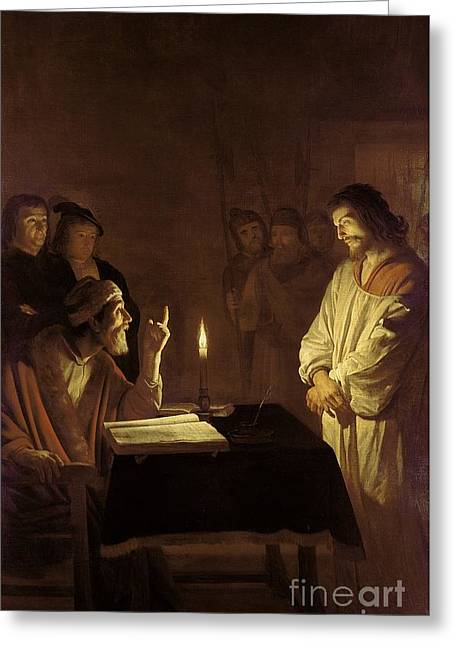 Roman Soldier Greeting Cards - Christ before the High Priest Greeting Card by Gerrit van Honthorst