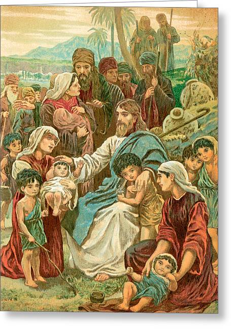 Christ Blessing Little Children Greeting Card by English School
